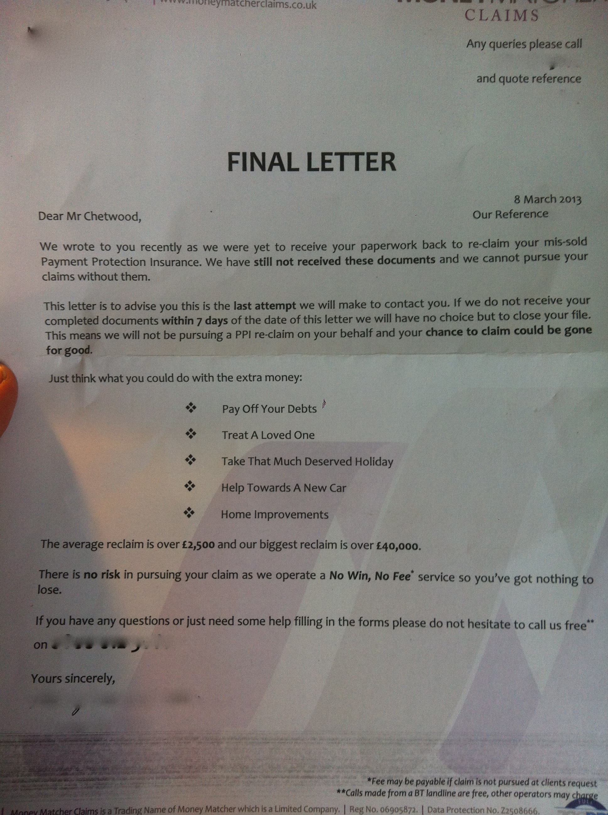 PPI Nuisance The Final Demand Letter – Demand Letter